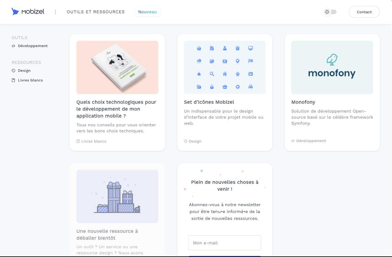 Site web outils et ressources - Mobizel
