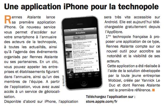Article Rennes Atalante Infos Janvier 2011