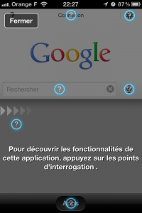 Screenshot de l'application iPhone Google