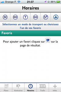 Screenshot de l'application iPhone RATP