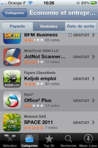 """SPACE 2011 - Top 25 applications gratuites, catégorie """"Économie et entreprise"""""""
