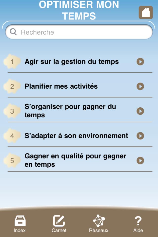 écran liste chapitres application iPhone