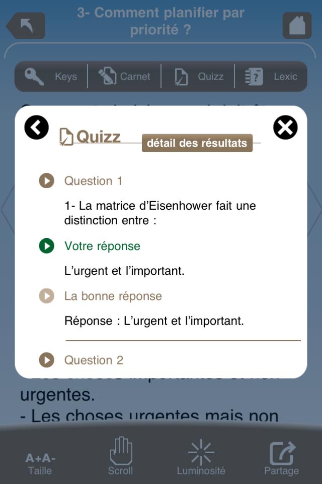 écran quizz Neocampus application iPhone