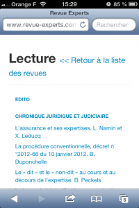 Revue experts version mobile