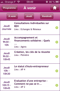 écran programme application iPhone JRCE 2012