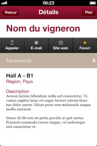 Fiche exposants application mobile vignerons indépendants