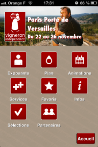 Home application mobile vignerons indépendants