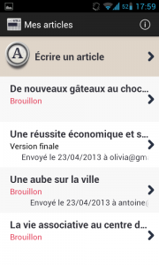 screenshot application Android EasyArticle