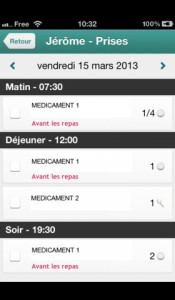 suivi de traitements application iPhone Ma Pharmacie Mobile