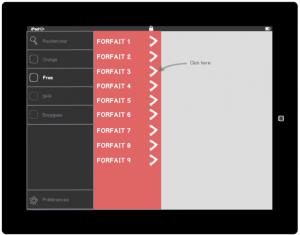 Menu de navigation application tablette tactile