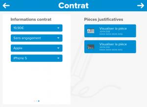 Application tablette tactile contrat