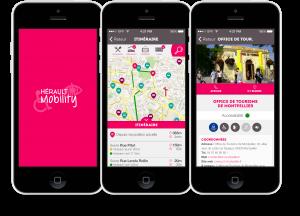 différents écrans de l'application mobile hérault mobility