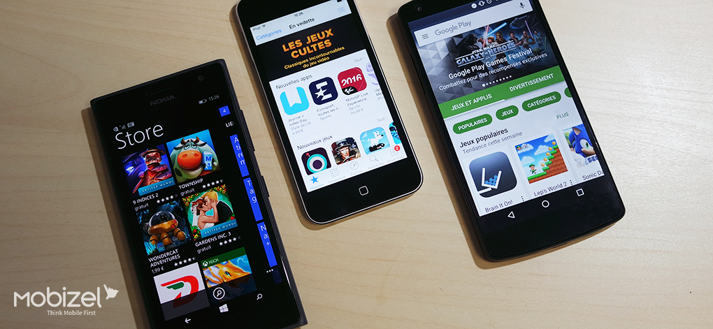 Stores : Google Play, App Store, Store Windows