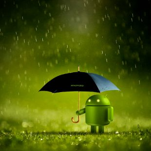 Bugdroid sous un parapluie
