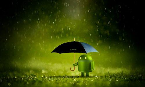 Android sous un parapluie