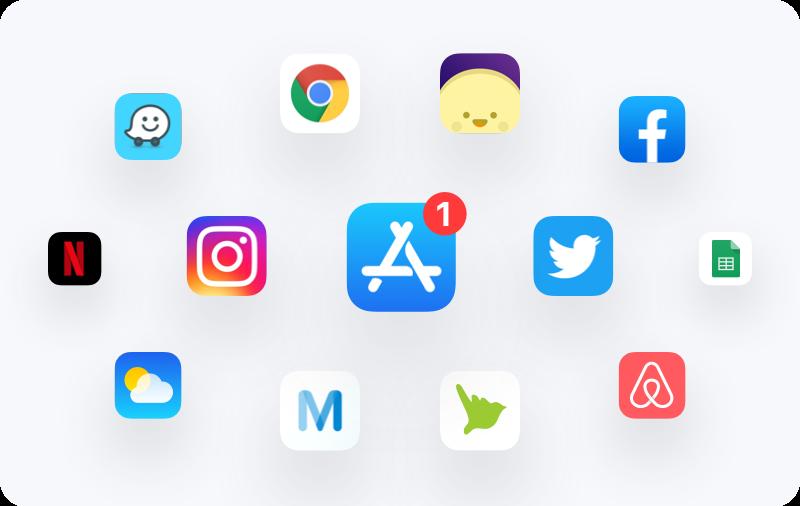 Nuage d'icônes d'applications mobile