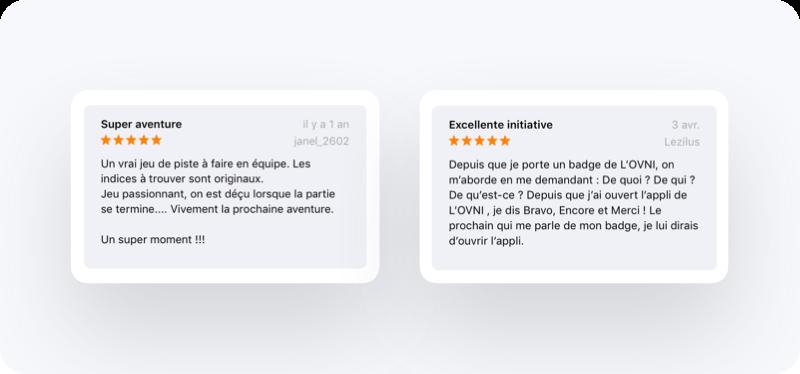 Exemples d'avis sur une application dans l'App Store