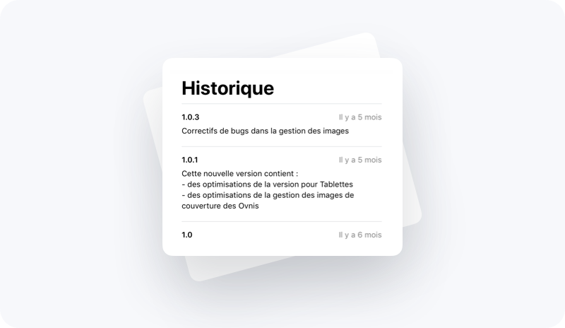 Exemple d'historique de mises à jour d'une application dans l'App Store