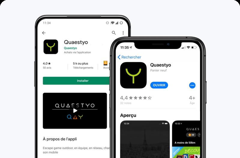 Prévisualisation de la fiche store de l'application Quaestyo sur iOS et Android