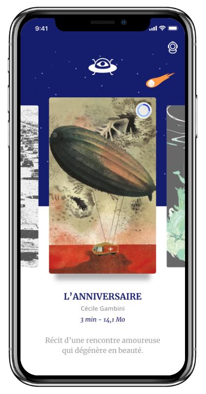 Maquette de l'app l'OVNI