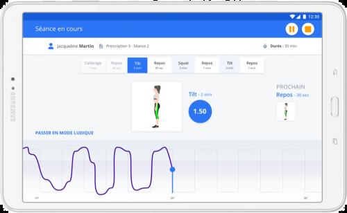 Blueback : écran de l'application
