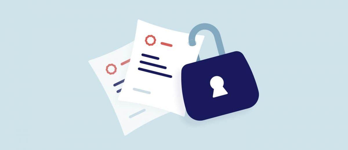 Illustration d'un cadenas qui protège des documents