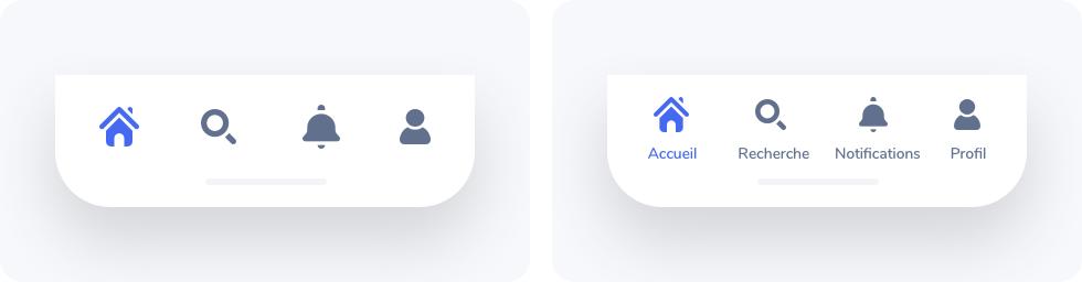 Exemple d'icônes avec ou sans labels