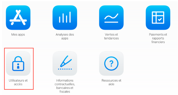 Interface App Store Connect
