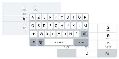Exemples de trois clavier iOS