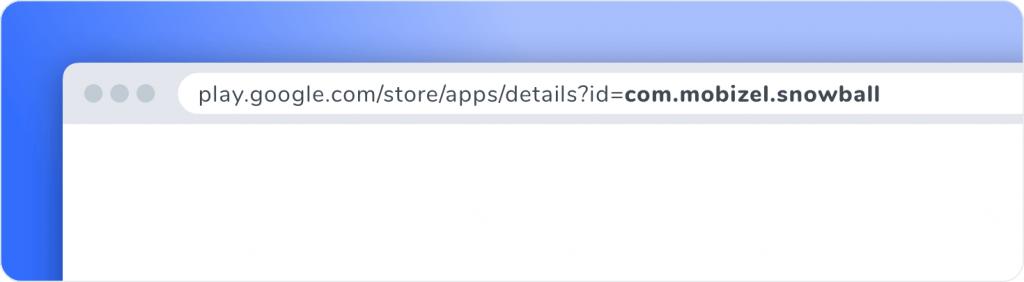 Exemple d'affichage du nom de package d'une application mobile dans l'URL d'une fiche store Android.